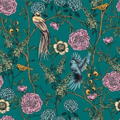 Victorian garden. Floral seamless pattern. Vector illustration.