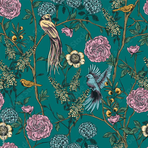 Victorian garden. Floral seamless pattern. Vector illustration. Wallpaper Mural