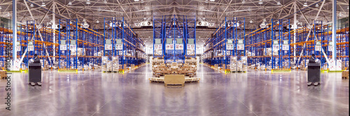 Obraz Typical storage, warehouse interior. Selective focus. Wide panoramic collage. Industrial background. - fototapety do salonu