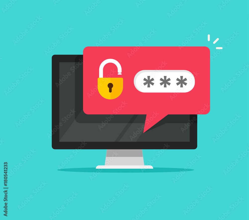 Fototapeta Password secure access on desktop computer with unlocked bubble notification, flat cartoon design or pc screen with open lock and password field