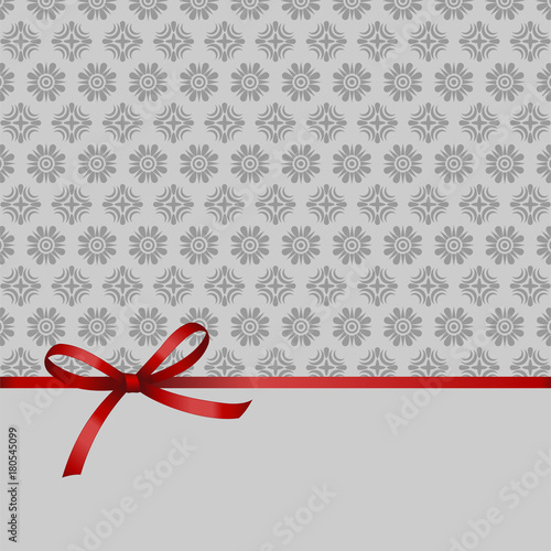 Gift Card With Red Ribbon And A Bow on grey background. Gift Voucher ...