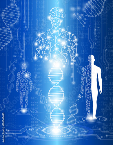 Photo abstract background technology concept in blue light,human body heal,technology
