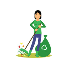 Happy Woman Cleaning And Raking Leaves, Save Green World, Ecological Concept