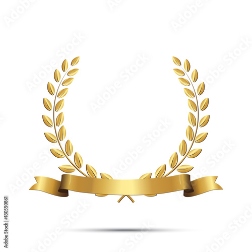 Fotografie, Obraz  Golden laurel wreath with ribbon isolated on white background