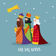 Cute Christmas Greeting Card, With Biblical Three Kings And Comet. Spanish Dia Del Reyes Invitation. Vector Illustration Background, Flat Design.