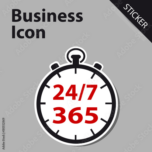 Fényképezés  Business Clock Icon 24/7 365 Days - Sticker label for Customer Service, Support, Call Center
