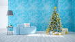 Christmas tree decorate on Modern of living room ,blue sofa on blue wall and wood floor ,in holidays,3d rendering