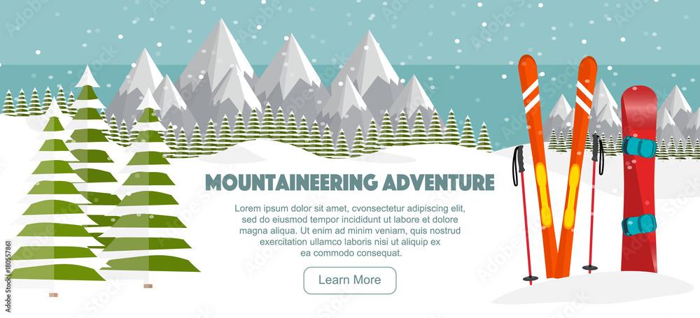 Fototapeta Ski, snowboard equipment, Swiss Alps, fir trees, falling snow, mountains panoramic background, flat vector illustration. Ski resort season is open. Winter web banner design.