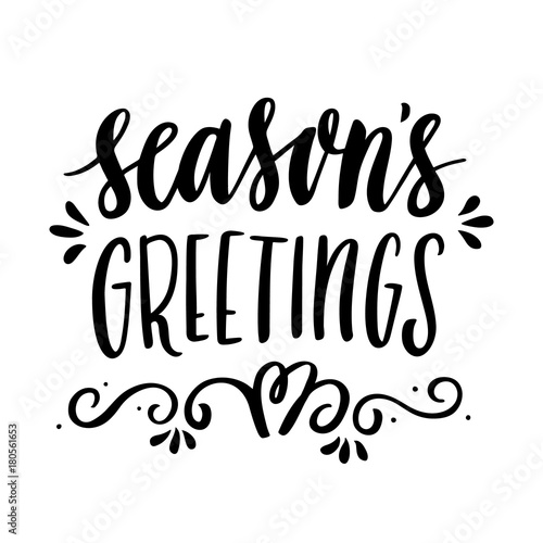 The hand drawing quote seasons greetings in a trendy calligraphic the hand drawing quote seasons greetings in a trendy calligraphic style merry m4hsunfo