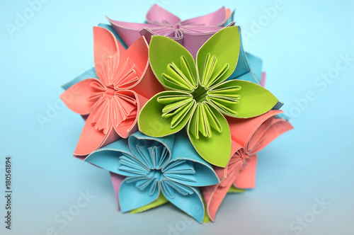 Origami kusudama flower ball on blue background buy this stock origami kusudama flower ball on blue background mightylinksfo
