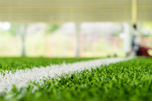 White Line On The Edge Of An Indoor Soccer Sport Field