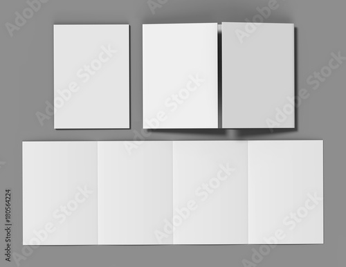 Valokuvatapetti Double gate fold brochure blank white template for mock up and presentation design