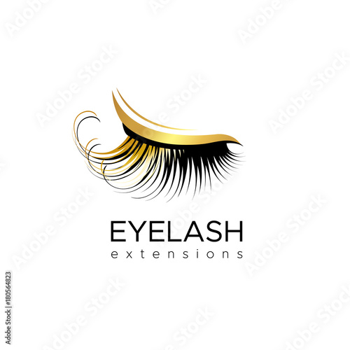 Photo Eyelash extension logo. Vector illustration in a modern style