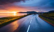 Lake Sunrise And Beautiful Road View