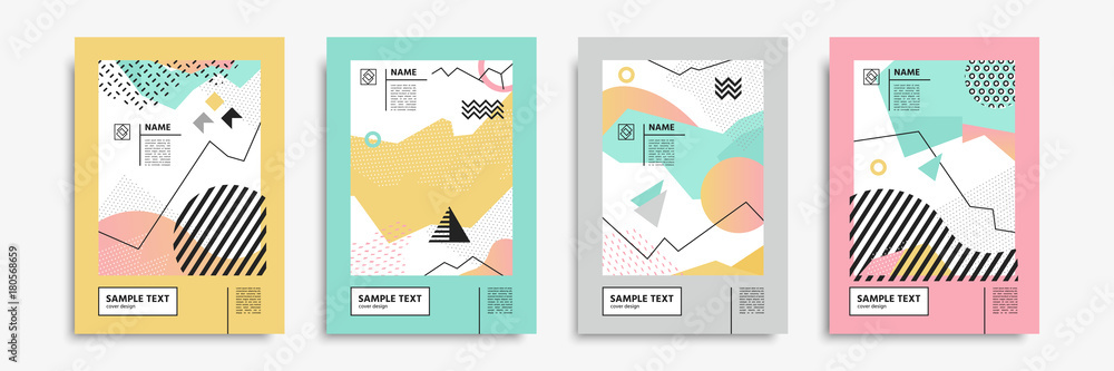 Fototapeta Cover set in memphis, bauhaus, hipster, geometric style. Vector templates for posters, placards, banners, brochures, presentations, covers, leaflets, catalogs. Geometric abstract backgrounds.