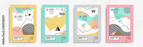 Photo  Cover set in memphis, bauhaus, hipster, geometric style