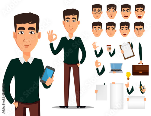 Business man cartoon character creation set.