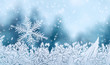 canvas print picture - Christmas background - snowflake on window