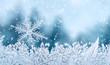 Leinwanddruck Bild - Christmas background - snowflake on window