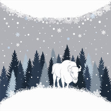 Card With Bison On The Forest ...
