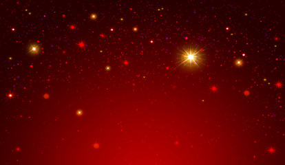 Fototapeta Niebo Red sky with colorful stars .