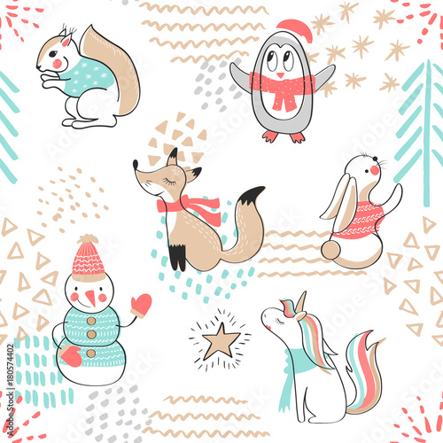 Cotton fabric Seamless pattern with cute penguin,snowman, Fox,unicorn, squirrel and rabbit. Hand Drawn vector illustration. Background with cartoon animals.