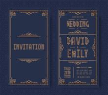 Wedding Invitation Card Set Art Deco Style Gold Color On Black Background With Frame. Greeting Card. Vector Illustration