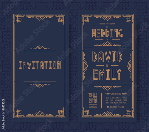 Fotografía  Wedding invitation card set art deco style gold color on black background with frame