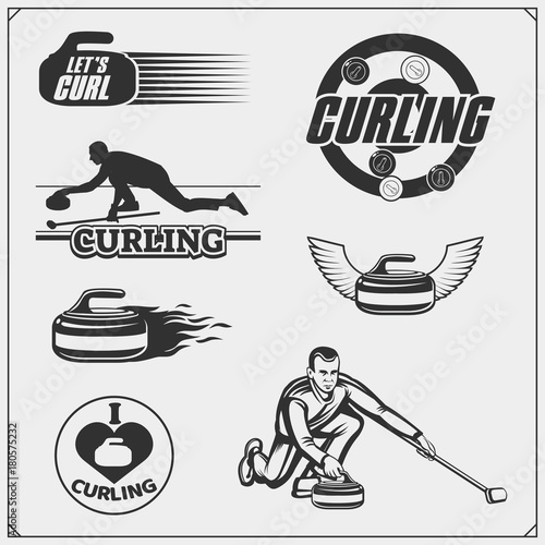 Tableau sur Toile Set of curling labels, emblems and design elements.