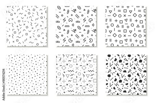 Collection of seamless memphis patterns, cards. Mosaic black and white textures. Fashion design 80 - 90s