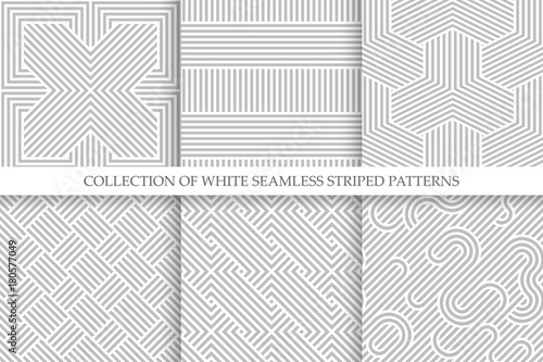 Recess Fitting Pattern Collection of seamless striped patterns. White and gray repeatable wicker texture