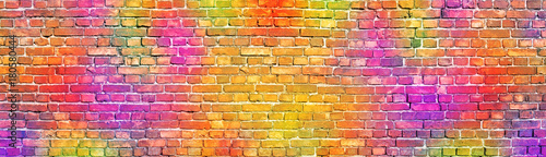 Poster Graffiti painted brick wall, abstract background a diverse color