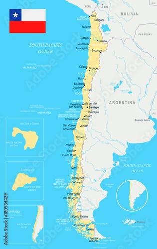 Chile Map - Detailed Vector Illustration – kaufen Sie se ... on