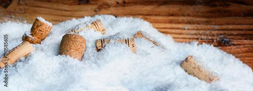 Many corks in snow