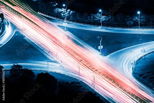 Papiers peints Tunnel closeup of the light trails on grade separation bridge