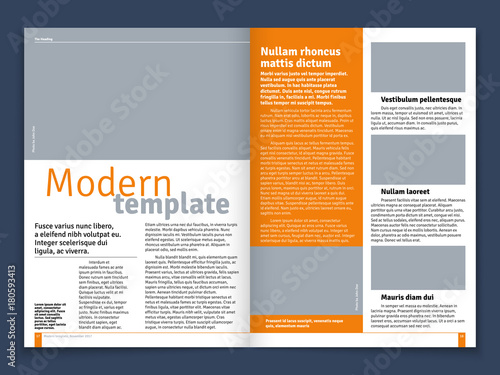 Fotografía Modern magazine or newspaper vector layout with text modular construction and im