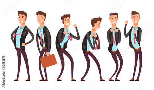 Businessman in different emotional states fear, anger, joy, annoyance, depression, contentment Wallpaper Mural
