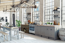 Attic Loft Kitchen Interior.