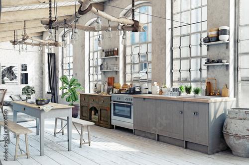 Foto-Plissee - Attic loft kitchen interior. (von victor zastol'skiy)
