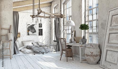 Fotografie, Obraz  Scandinavian  Bedroom interior