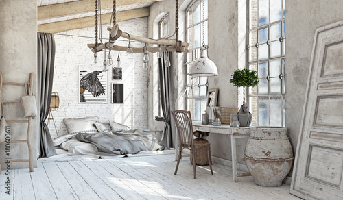 Foto-Tapete - Scandinavian  Bedroom interior (von victor zastol'skiy)
