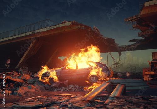 Fotografiet burning car