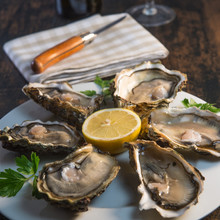 Oysters And White Wine On Wood...