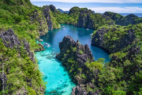 Fotografia  Coron, Palawan, Philippines, aerial view of beautiful lagoon and limestone cliffs