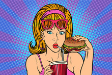 Pop Art Woman With Fast Food