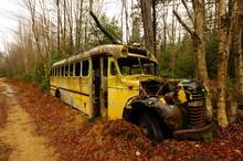 Abandoned School Bus In Adirondac, NY