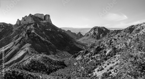 Black and white view of Big Bend national Park from the lost mine's trail