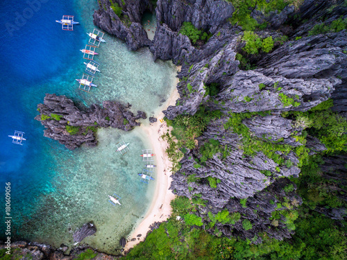 El Nido, Palawan, Philippines, aerial view of dramatic karst scenery at Secret Lagoon beach.