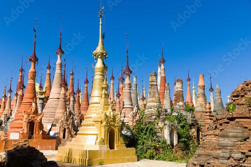 Plakat Shwe Inn Dein Pagode, Inlee See, Myanmar