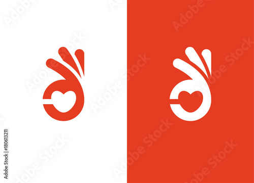 Fotomural Heart shape and ok hand sign